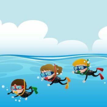 Tekening kinderen die duiken